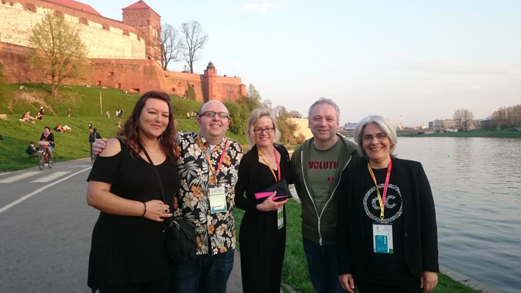 The OER Hub team in Krakow, Poland (l-r: Natalie Eggleston, Rob Farrow, Beck Pitt, Martin Weller & Bea de los Arcos) (CC BY 4.0 International, OER Hub)